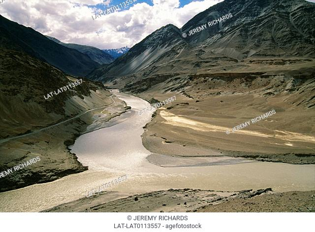 At Nimu, in Ladakh, at the confluence of the Zanskar and Indus rivers, the meeting of the waters, the Indus from Tibet and the Zanskar river from the West join...