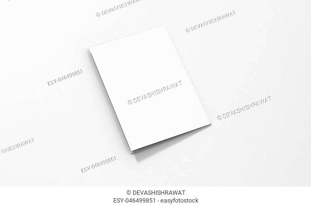 Tri-Fold A5 Brochure Mock-up, Realistic Rendering of Tri-Fold A5/A4 Brochure Mock-up on Isolated White Background, 3D Illustration