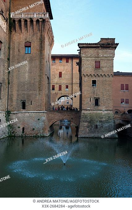 The Estense castle surrounded by water. Ferrara, Italy