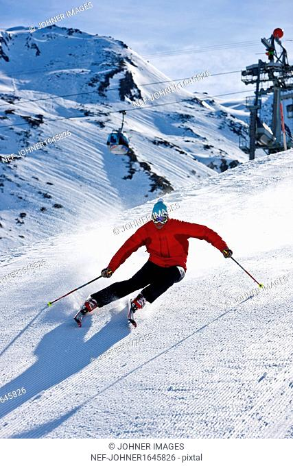 Man skiing, high angle view