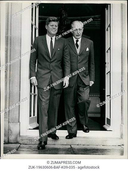 Jun. 06, 1963 - Kennedy Meets With Mac: President Kennedy and Mr Macmillan are holding weekend talks at Birch Grove, the country home of the British Premier in...