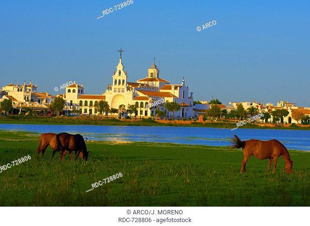 El Rocio village and Hermitage, Almonte, El Rocio, Marismas de Donana, Donana National Park, Huelva province, Andalusia, Spain