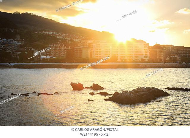 Castro Urdiales at sunset, Cantabria, Spain