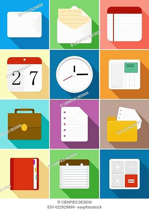 Business flat icons set design
