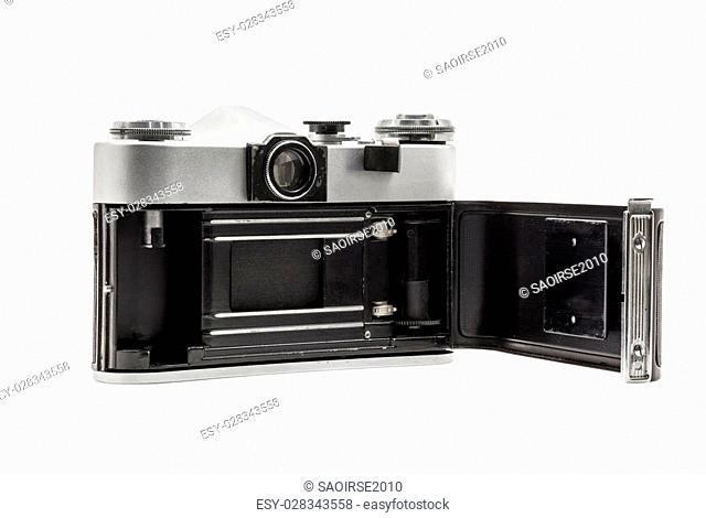 Retro soviet film camera isolated on white background. Soviet reflex camera. Opened back side