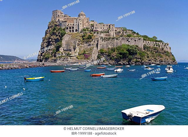 Ischia Ponte, Castello Aragonese castle, Ischia, Gulf of Naples, Campania region, Italy, Europe
