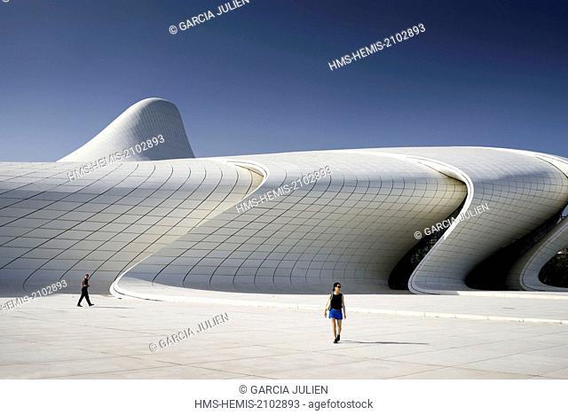 Azerbaijan, Baku, Heydar Aliyev cultural center futuristic monument designed by the architect Zaha Hadid