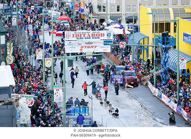 Rookie Mark Selland of Anchorage crosses the starting line at the 2015 Iditarod Sled Dog Race's ceremonial start in Anchorage, Alaska on March 7, 2015