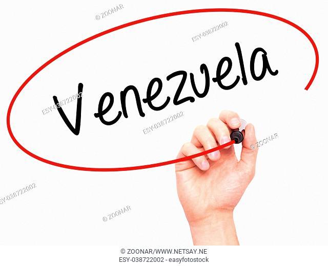 Man Hand writing Venezuela with black marker on visual screen