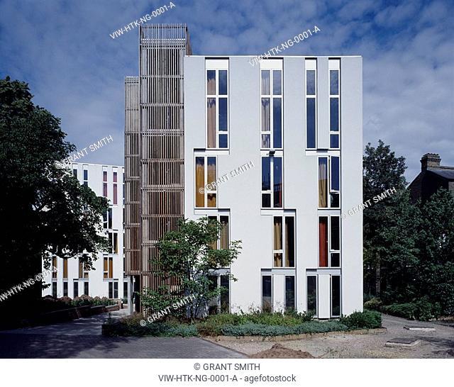 NEWINGTON GREEN STUDENT HOUSING, NEWINGTON GREEN, LONDON, N16 STOKE NEWINGTON, UK, HAWORTH TOMKINS ARCHITECTS, EXTERIOR, EAST ELEVATION OF BLOCK A