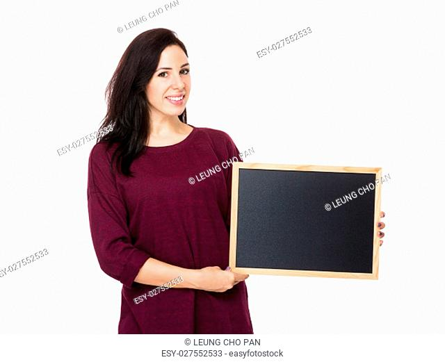 Young woman hand hold with chalkboard