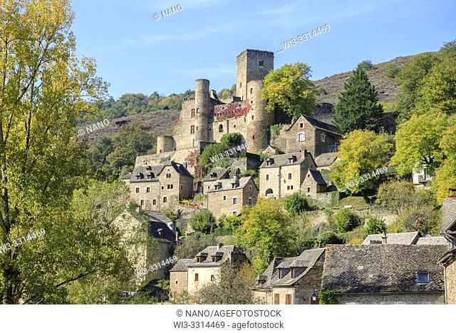 France, Aveyron, Belcastel, labelled Les Plus Beaux Villages de France (The Most Beautiful Villages of France), general view of the village with the castle