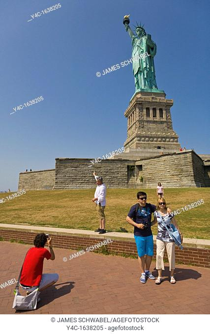 Tourists at Statue of Liberty in New York City