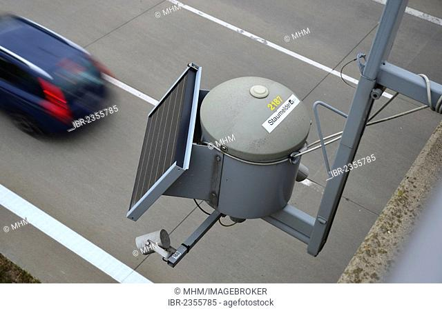Traffic sensor on a bridge, A4 motorway near Frankenberg, Saxony, Germany, Europe