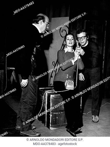 Silverio Blasi, Johnny Dorelli, Catherine Spaak during the rehearsals of the comedy Aspettando Jo. Italian singer, actor and showman Johnny Dorelli (Giorgio...
