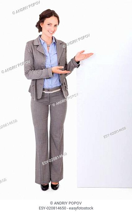Businesswoman Showing Placard
