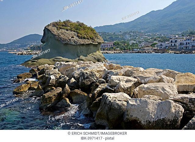 Rock Fungo, landmark, Lacco Ameno, Ischia, Gulf of Naples, Italy