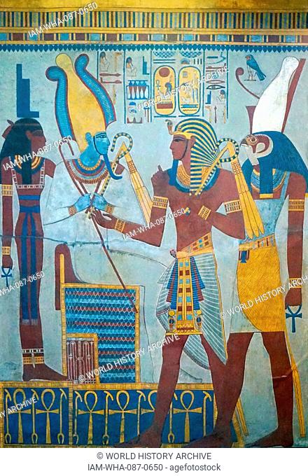 Painted wall frieze, dated 1290-1279 BC, cast from the tomb of Egyptian King Seti I. Valley of the Kings, Luxor, Egypt