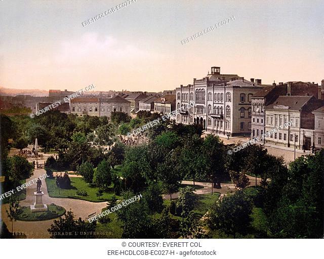 Serbia, University, Belgrade, photochrom, circa early 1900s
