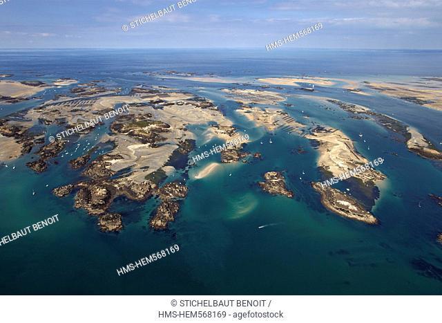 France, Manche, Iles du Ponant, Iles Chausey aerial view