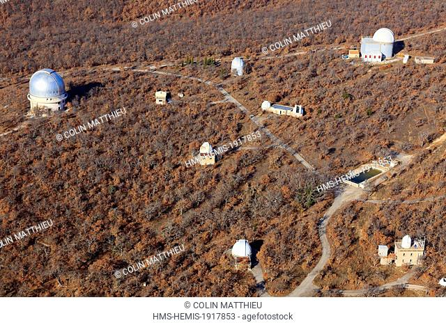 France, Alpes de Haute Provence, regional park of Luberon, Saint Michel L'ObservatoireAstronomical Observatory of Haute Provence and 193 cm telescope (aerial...