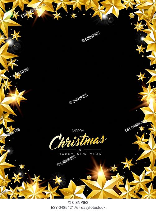 Merry Christmas, New Year greeting card with realistic gold stars and glitter making elegant copy space frame. Luxury golden decoration for holiday celebration