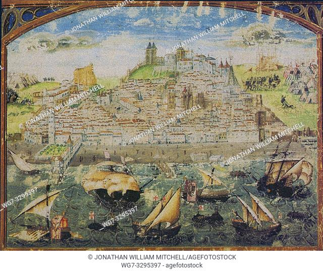PORTUGAL Lisbon -- circa 1500 -- The oldest known view of Lisbon (circa 1500-1510). This miniature is from the Cronicle of Afonso I of Portugal by the artist...