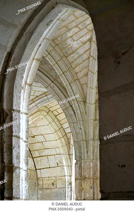 France, Dordogne, detail of the arches of the cloister of the abbey of Brantome