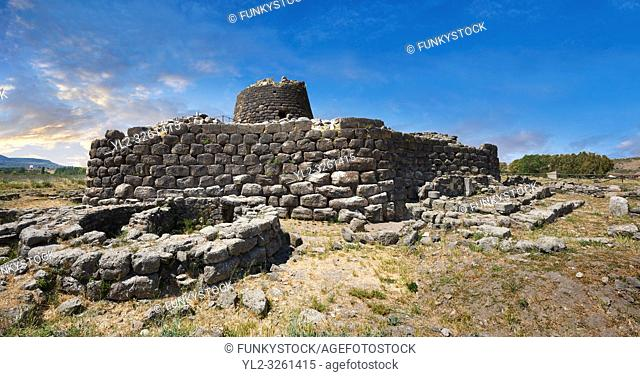 Picture and image of the exterior walls of the prehistoric magalith ruins of Santu Antine Nuraghe tower and nuragic village archaeological site