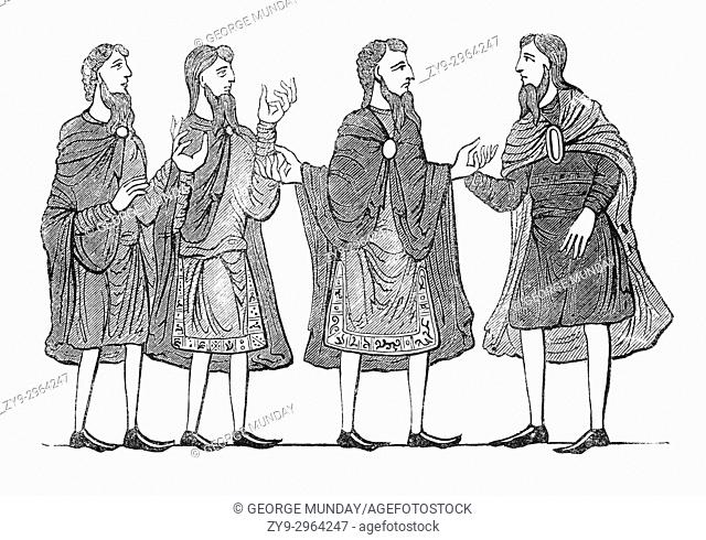 Cloaks, tunics and shoes that make up everyday Saxon attire in 9th Century England