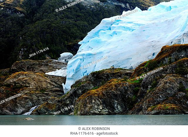 A glacier in the Darwin Mountain range, Alberto de Agostini National Park, Tierra del Fuego, Patagonia, Chile, South America