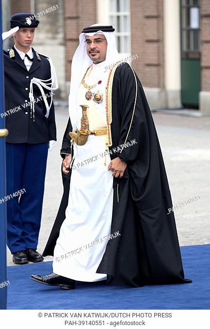 Crown Prince of Bahrain Salman bin Hamad al Khalifa leaves the Nieuwe Kerk after the investiture ceremony of King Willem-Alexander in Amsterdam, The Netherlands