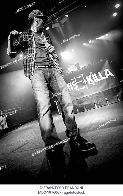 The rapper Emis Killa (Emiliano Rudolf Giambelli) performing at Magazzini Generali in a photo shooting. Milan, Italy. 29th April 2012