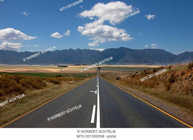 View of empty road passing through a landscape, Swellendam, Western Cape Province, South Africa