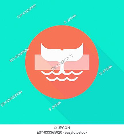 Illustration of a long shadow do not enter icon with a whale tail
