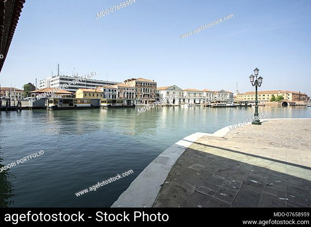 The Grand Canal near the Constitution Bridge of the Spanish architect Santiago Calatrava, completely deserted on the day of its patron Saint Mark