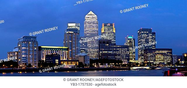 Canary Wharf Financial District At Night, Viewed Across The River Thames, London, England