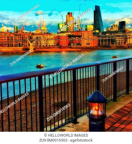 View of City of London skyline from South Bank, London, England, Europe