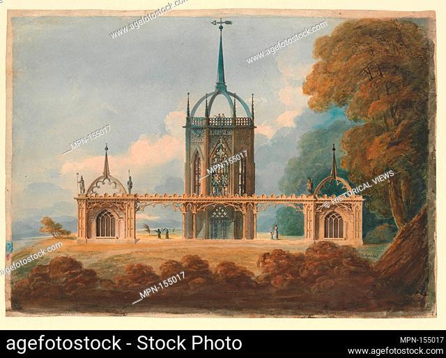 Design for a Gothic Belle Vue. Artist: William Hurst Ashpitel (British, London 1776-1852 Schuller von Dan); Date: ca. 1800; Medium: Watercolor; Dimensions:...