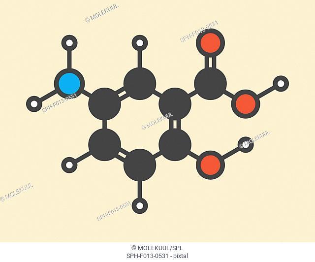 Mesalazine (mesalamine, 5-aminosalicylic acid, 5-ASA) inflammatory bowel disease drug molecule. Used to treat ulcerative colitis and Crohn's disease