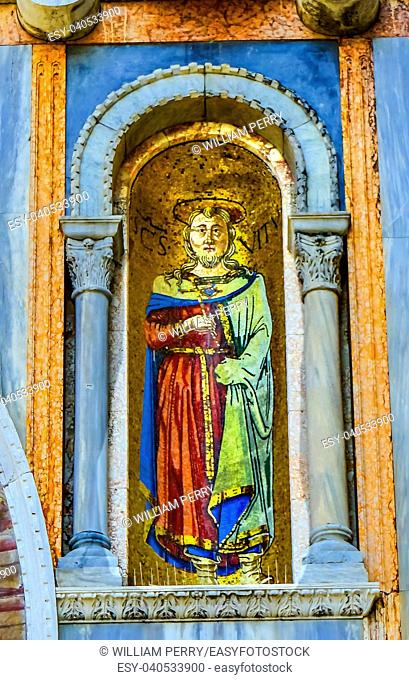 Saint Vitus Mosaic Saint Mark's Basilica Venice Italy. Church created 1063 AD and mosaic on outside church from the 1200s AD