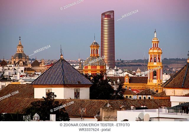 Blick über den Stadtteil Santa Cruz, Sevilla, Andalusien, Spanien