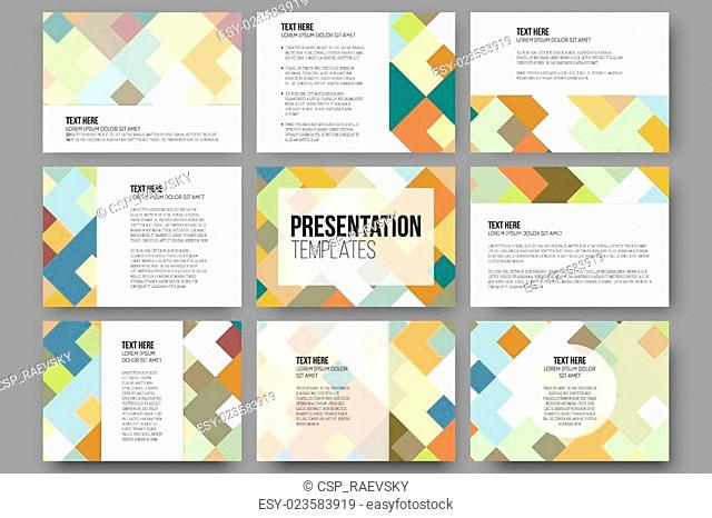 Set of 9 templates for presentation slides. Abstract colored backgrounds, square design vectors