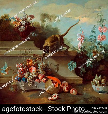 Still Life with Monkey, Fruits, and Flowers, 1724. Creator: Jean-Baptiste Oudry