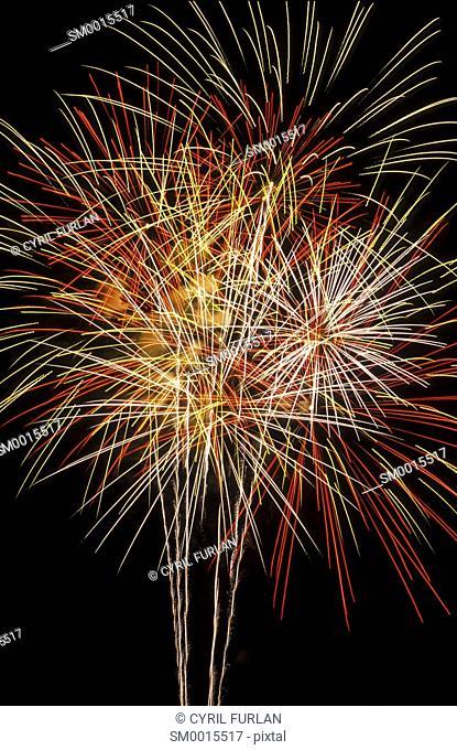 Fourth of July in America, triple burst fireworks