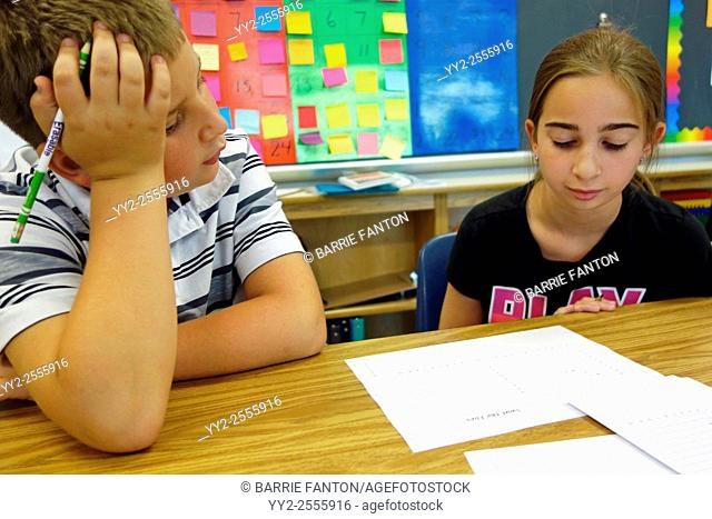 6th Grade Students Working Together in Math Class, Wellsville, New York, United States