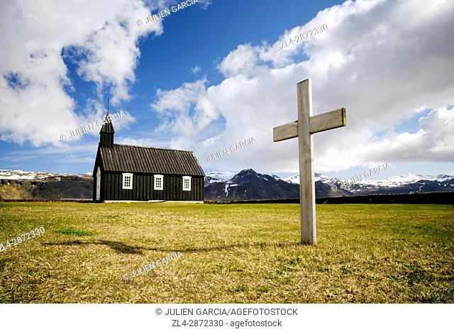 Iceland, Vesturland region, Snaefellsnes Peninsula, black church in Budir
