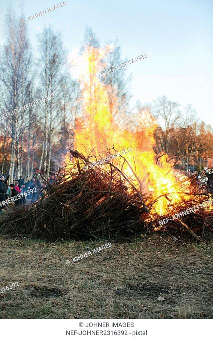 Large bonfire in autumn