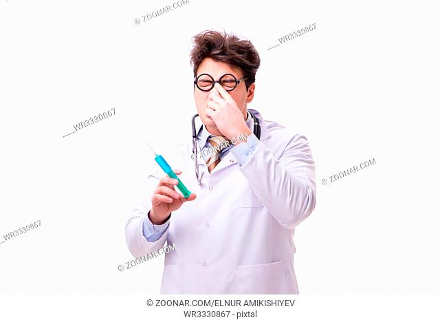 Funny doctor with syringe isolated on white