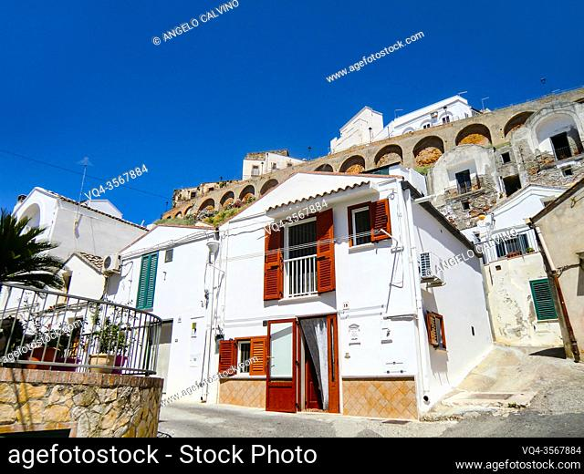 Pisticci and its white buildings from Rione Dirupo, Matera, Basilicata, Italy, Europe